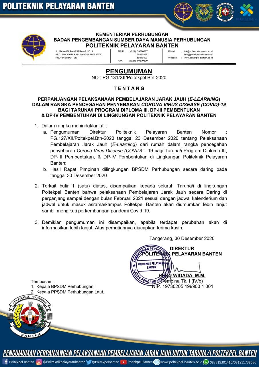 Pengumuman Perpanjangan Pelaksanaan Pembelajaran Jarak Jauh (E-Learning) Bagi Taruna/I Politeknik Pelayaran Banten