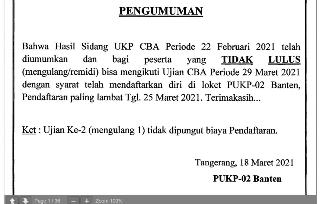 Pengumuman hasil sidang PUKP 02 Banten periode 22 Februari 2021