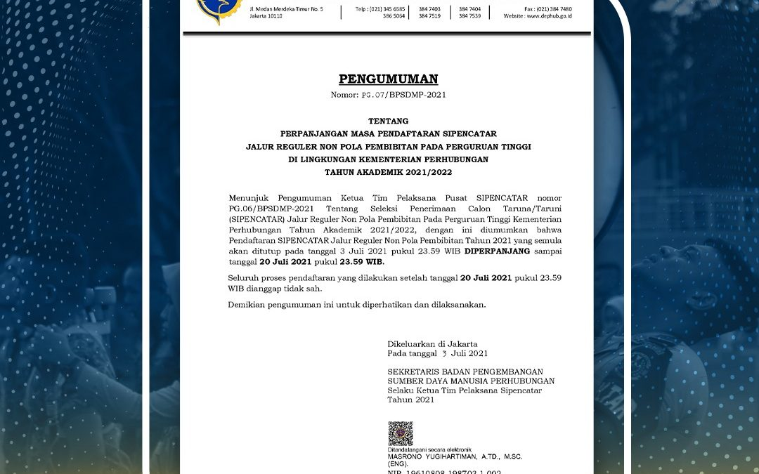 Perpanjangan Masa Pendaftaran SIPENCATAR Jalur Reguler Non Pola Pembibitan Tahun Akademik 2021/2022